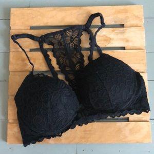 Pink Victoria's Secret black lace bra 34D